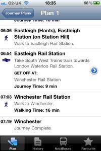 traveline south & east screenshot