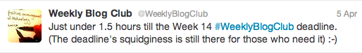 "@WeeklyBlogClub tweets about the ""Squidy Deadline"""
